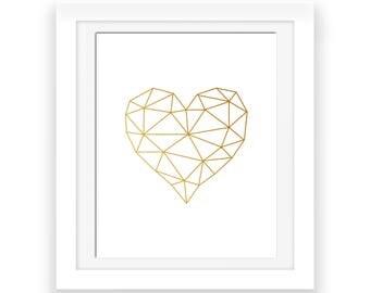 Geometric Heart, Girlfriend Gift, Valentines Day Gift, Gold Heart Print, Modern Bedroom Decor, Gold Geometric Heart, Valentines Decor