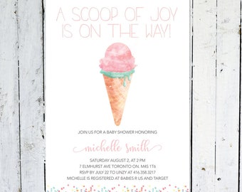 Baby Shower Invitation Girl, Ice Cream, Sprinkles, Mint, Pink, Ice Cream Invitation, A Scoop Of Joy, Printable, Printed