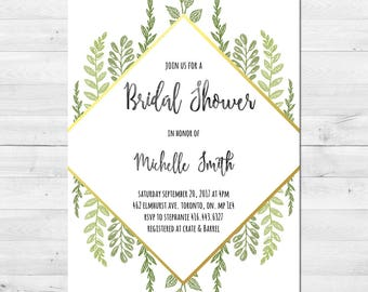 Bridal Shower Invitation, Modern, Watercolor, Greenery, Gold, Modern, Printable, Printed