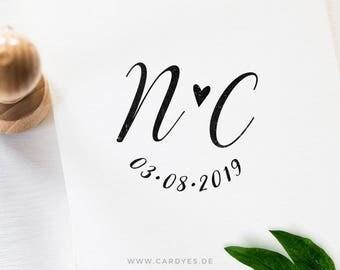 Calligraphy wedding stamp • Custom rubber stamp •  Wedding stationery • Save the Date stamp • Wedding calligraphy