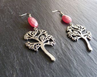 Earrings tree of life in pink Ruby
