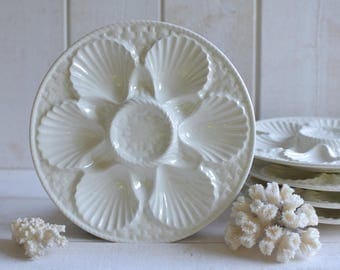 1 Vintage French 1950s  Majolica OYSTER SHELL Plate- SARREGUEMINES-  5 plates available-