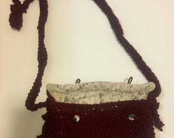 Maroon and Lace Purse