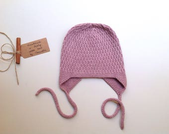 READY TO SHIP - 100% cashmere earflap hat,  color ombre rose hand knitted, Size 12-24 months