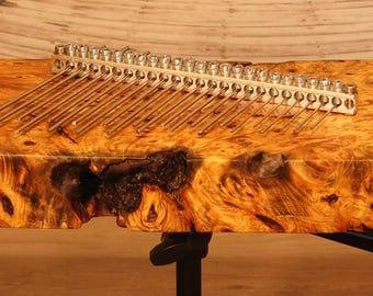 Mbira (Kalimba), Buckeye Live-Edge Burl, Stereo, Acoustic-Electric, Twenty-Three Note, ASMR Instrument