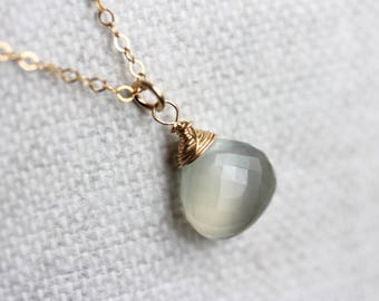Gray Moonstone Necklace, Gold Filled Chain, Grey Gemstone Pendant, June Birthstone