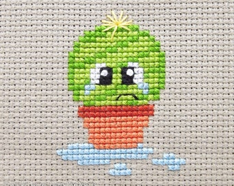 Spike the Cute Baby Cactus Cross Stitch Pattern PDF   Prickly but Cute Stitch-a-Long   Modern   Easy Beginners Counted Cross Stitch Pattern