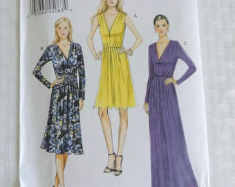 Vogue V8921 Size 6-14 Misses' Pleated V-Neck Dresses in Three Variations Sewing Pattern / UNCUT Factory Folded