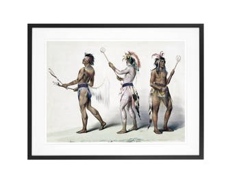 Ball players. 1845 Rare Native American Art High Quality Print