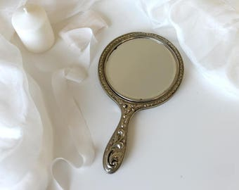 Silver hand mirror vintage, silver, hand mirror, styling kit, fine art photography, styled shoot, vintage mirror