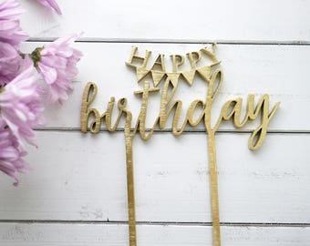 Happy Birthday Banner Cake Topper | Bunting Banner Cake Topper | Modern Calligraphy Cake Decoration | Laser Cut Wood Birthday Decor
