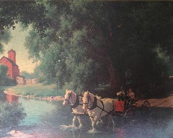 "Vintage Paul Detlefsen Textured Print Picture  ""Good Ole Days"" Wagon and Horses Crossing a Creek"