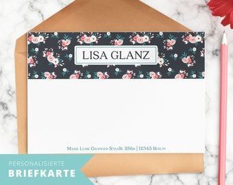 """Personalized letter cards with floral illustration """"Rose Symphony"""" and your Name"""