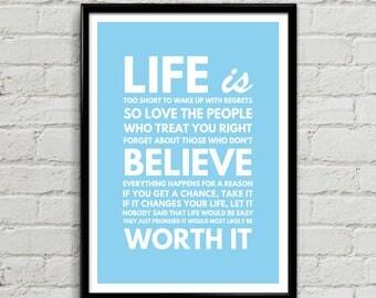 Leven Is te kort om spijt - Wekdienst Poster Print, inspirerend, positief, typografische Wall Art Gift, Decor van het huis van de familie, slaapkamer Art