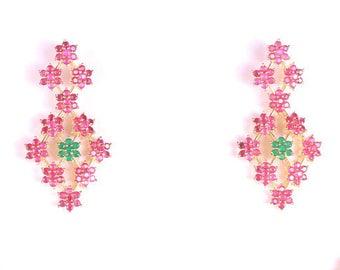 Indian Jewelry, ruby, chandelier earring, bridal, red, earring, green