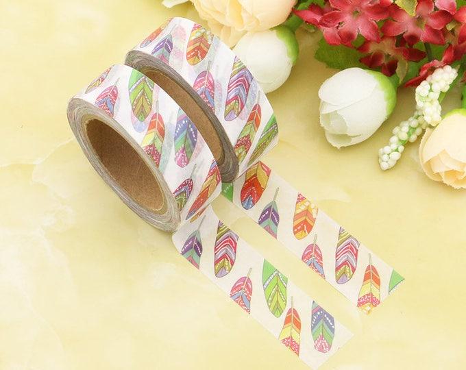 Feather Washi Tape - Boho Washi Tape -  Colorful Feathers Tape - Paper Tape - Planner Washi Tape - Washi - Decorative Tape - Deco Paper Tape