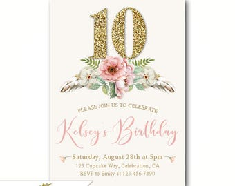 Boho Girl's 10th Birthday Invitations, 9th 10th 11th Birthday Party or Any Age Girl, Faux Gold Glitter, Chic Watercolor Florals for a girl