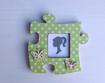 Picture frame wood green white polka dot and Butterfly puzzle