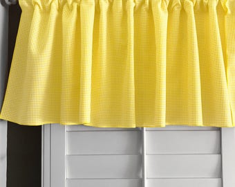 Micro Gingham Checker Plaid Window Valance 58 Inch Wide for Kitchen or Bedroom Windows Yellow