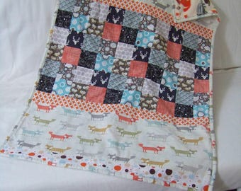 Blanket patchwork style Fox and friends