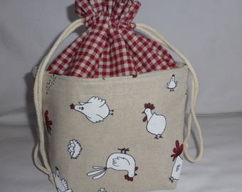 Bag, pouch to store and decorate, fabric hens pattern basket