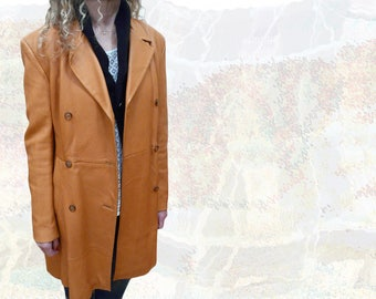 Gorgeous vintage coat-trench * high quality leather * leather-orange color