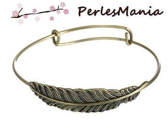 1 stand 22cm (S112054) BRONZE feather expandable Bangle bracelet