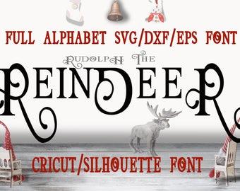 svg font Cricut Silhouette Digital Full Alphabet SVG DXF EPS Fonts Instant Download Script  Vintage swash font svg font Christmas font