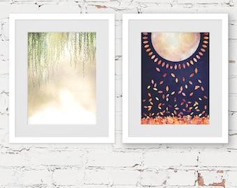 bohemian art prints, modern art prints, SET OF TWO prints, tropical wall art, sunshine art print, jungalow style, contemporary set of prints