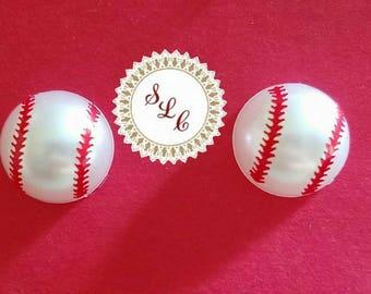 baseball pearl earrings
