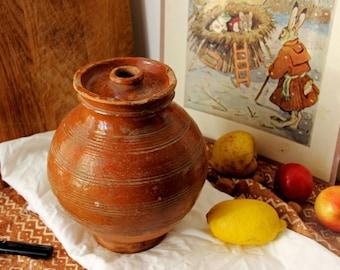 Antique Pottery Jar Vintage Pottery Vase Old Pot Primitive Pottery Pot Jug Jar Pottery Bottle Farmhouse Kitchen Decor Antique Crock