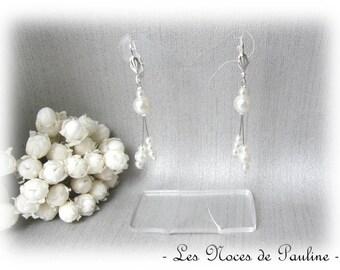 Earrings ivory pearls dangle asymmetrical Diana