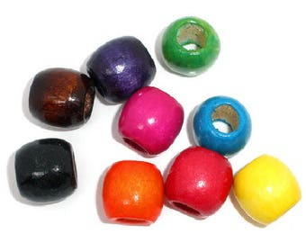 set of 9 large drum 17 mm x 16 mm wooden beads