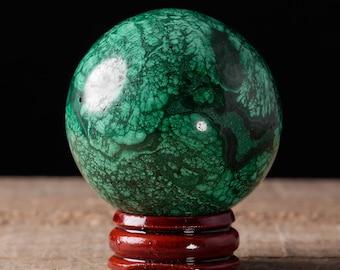 48mm MALACHITE Sphere - Malachite Crystal, Malachite Stone Sphere, Polished Malachite, Green Crystal Sphere, Malachite Crystal Ball 36747