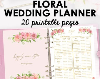 Foral Wedding Planner Printable, Wedding Planner Printables, I Do Organizing Planning Printables, Checklist, Letter Size, Instant Download