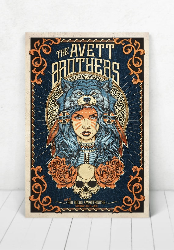 The Avett Brothers Concert Poster - Illustration [The Avett Brothers / Red Rocks Amphitheater Morrison, CO - July 9, 2011]