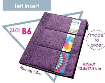 Traveler's Notebook insert B6 size - Felt Zip Up Wallet Card Holder - Pencil Case - Midori Insert
