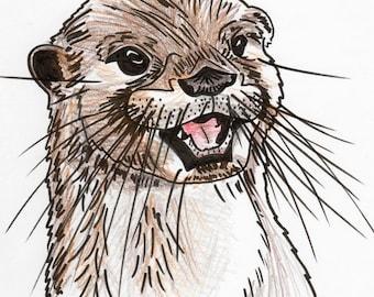 Inktober #16 2017 - Otter [PRINT]