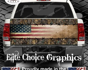 Wicked Wire Camo Flag Truck Tailgate Wrap Vinyl Graphic Decal Sticker Wrap