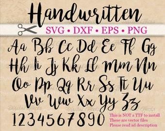 HANDWRITTEN Script SVG Monogram, Cursive Script Svg Font, Dxf, Eps, Png;  Brush font, Fancy Script, Wedding SVG Font, Silhouette, Cricut Svg