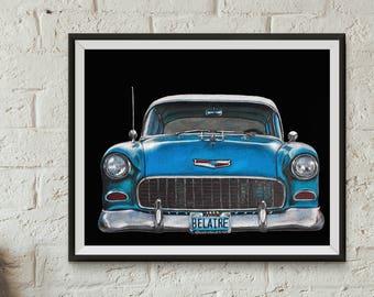 Chevy Car. Original Print. Class Automobile. Colored Pencil Car. Vintage Auto. 1955 Chevy. Gifts for Him. Chevrolet . Car Art. Belaire.