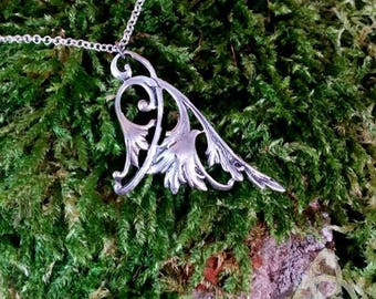 Silver volute fairy wing necklace pendant tracery elven medieval Celtic knot pagan wicca Victorian wedding