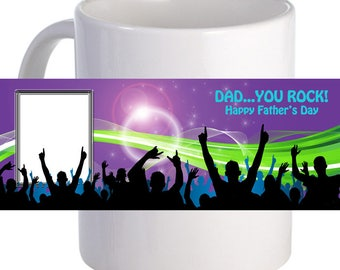 "Personalized ""Dad... You Rock!"" Coffee Mug With Custom Printed Image"