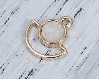 2 pendants shaped fan gold & Imitation Opal 1.7 cm