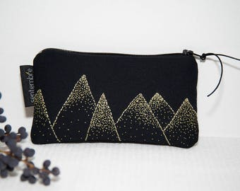 Wallet black and gold / mountain pattern / black fabric purse / gold decor / black/cosmetic / mountains pattern