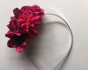 Flower Crown -  Berry Red Floral Fascinator