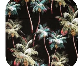 Fabric Palm Trees Tropical Black 100% Cotton Barkcloth Island Polynesia Hawaii Rarotonga Tahiti Upholstery