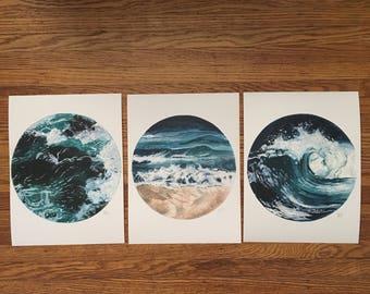 Set of Three Waves Watercolour Prints