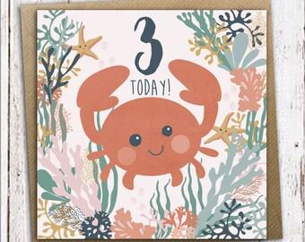 3rd birthday card, crab birthday card, three today, children's birthday card, kids birthday card, first birthday card