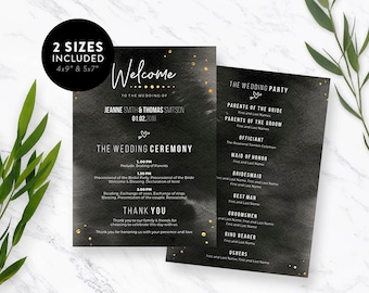 Wedding Program Template, Editable PDF Template, Printable Wedding Program, Wedding Program Printable, Wedding, Program Template,Download